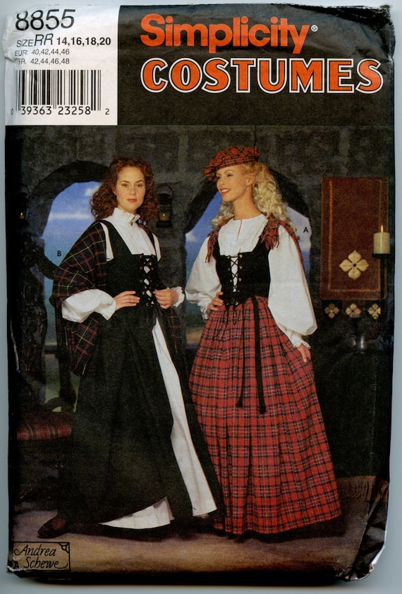 Simplicity 8855 Costume Sewing Pattern Celtic Scottish Irish