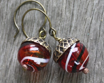 Acorn Earrings - Blown Glass Earrings - Brass Findings