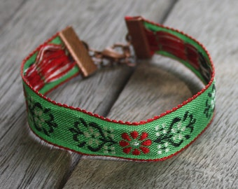 Embroidered Ribbon Bracelet, Stacking Bracelet, Gypsy Bracelet, Boho Bracelet, Bohemian Bracelet, Boho Jewelry, Green, Red, White, Copper