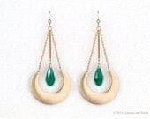 Gold Filled // Crescent circle  // Emerald Green Quartz Earrings //  Long Dangle Chain Earrings //