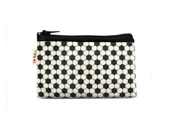 Black and White, men's wallet, coin purse, slim wallet, with geometric footbal soccer pattern, Wallet for men, for women, for kids