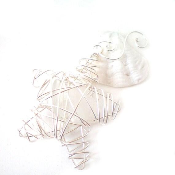 white sea glass star decoration, sun catcher, christmas tree ornament