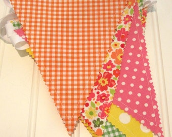 Bunting/Fabric Flag Banner, As Seen in PREGNANCY and NEWBORN MAGAZINE, Girl Bedroom/ Nursery/ Playroom/Party/Baby Shower