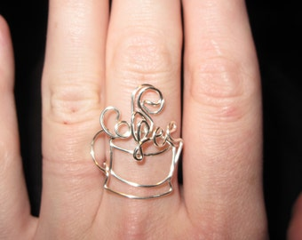 Wire Wrapped Coffee Spelled Coffee Cup Ring MADE to ORDER