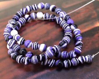 Charm 8mm Round Purple Zebra Stripe malachite gemstone bead Loose Full One strand