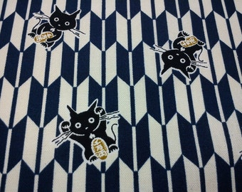 Japanese black fortune cat, dark blue geometric, fat quarter, pure cotton fabric