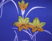 LILIES  Vintage Japanese Yukata cotton fabric   French Blue   15 x 57 inches