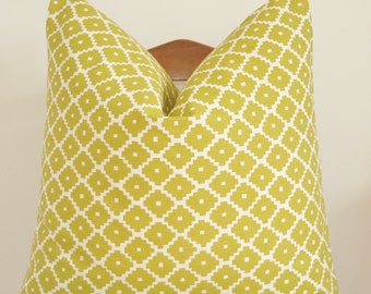 Pillow Cover, Decorative Pillow, Throw Pillow, Toss Pillow, Sofa Pillow, Schumacher Ziggurat, Chartreuse, 20x20 inch, Home Furnishing