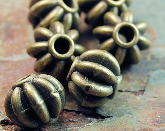 "Antiqued brass-finished ""pewter"" (zinc-based alloy), 8mm fluted round bead -24"