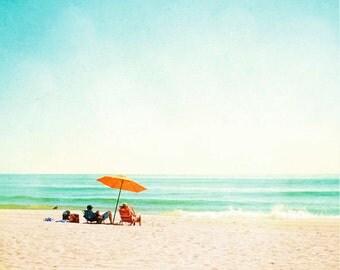 "Beach Photography - umbrella turquoise aqua blue orange mint green teal light cream beige ocean wall art, 8x10, 11x14 Photograph, ""Time Off"""