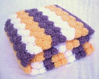 Crochet Baby Blanket, Baby Blanket, Crochet East Carolina Baby Blanket, purple, yellow, and white, crib size