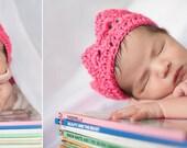 Ready To Ship Crochet Princess Crown Hot Pink Excellent Photo Prop NEWBORN