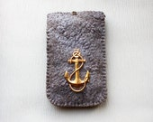 RESERVED for Donald ---- Unique felted iPhone case - Nautical - Wool - With real navy insignia
