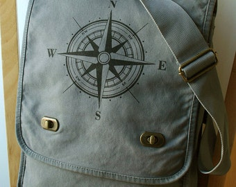 Compass Rose Canvas Messenger Bag