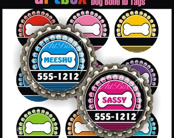Editable Dog Bone ID Tags Bottle Cap Images - 4x6 Digital JPEG File Collage Sheet - BottleCap One Inch Circles for Badge Reels, Pendants