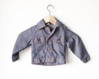 vintage kid's JEAN jacket 80s childrens denim coat CONTRAST stitching kids coat