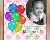 Balloons Birthday Invitation, Up, Up and Away Birthday Invitation, Colorful Balloon Birthday Invitation-Digital File You Print