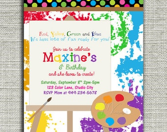Art Birthday Invitation, Arts and Crafts Birthday Invitation -Digital File You Print