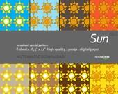 """Digital Paper +Sun + Scrapbook Quality Paper Pack  (8.5x11""""- 300 dpi)   8 sheet pack paper  SU1 + Instant Download +"""