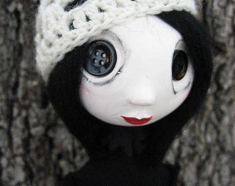 Custom Art Doll - Buttom Eyed Art Doll - Spooky Art Doll - French Art Doll - Cloth Art Doll