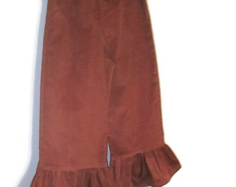 Girls Ruffle Pants Corduroy Sizes 1T to 8 Boutique Style Chestnut Brown Corduroy Ruffle Pants Girls Toddlers
