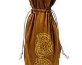 Shimmery gold fabric Wine Bag sparkly light gold paisleys stocking stuffer gift bag Hostess gift favors block printed design reusable