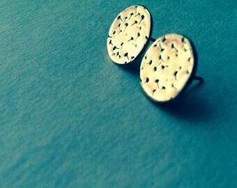 Brass Dandelion Stud Post Sterling Silver Earrings
