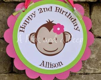 Lime Green and Pink Personalized Birthday Monkey Door Hanging Sign Shower Decoration