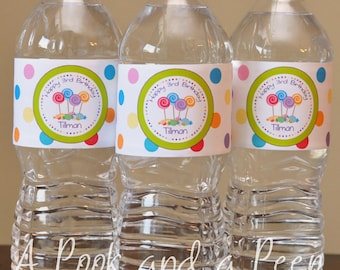 Candyland Sweet Shoppe Water Bottle Labels Personalized Custom Birthday or Shower Decoration