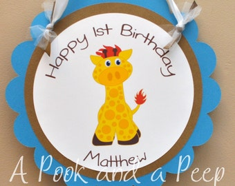 Boy Giraffe Hanging Door Sign Personalized for Birthday Parties and Showers in Blue Green and Yellow