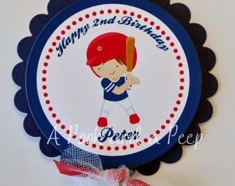 Custom Baseball Player Personalized Centerpiece Stake Cake Topper