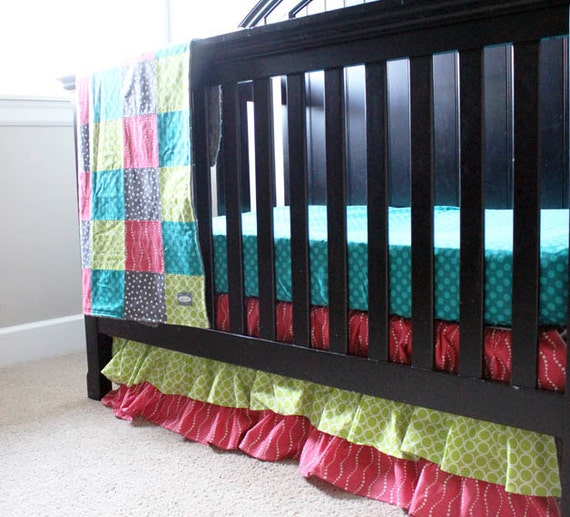 Lime Green And Pink Bedding: Custom Crib Bedding Lime Green Pink Grey And By GiggleSixBaby