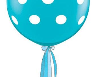 Turquoise Teal Polka Dot Balloon w/Handmade Tassel