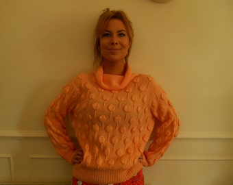 Peach textured vintage sweater with roll neck..perfect for Spring !