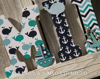 Custom Nursery Letters, Baby Boy Nursery, Baby Girl Nursery - Nautical Theme Letters (whale, boat, anchor, teal, navy, aqua, white), 9 Inch