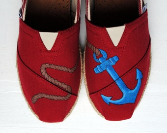 Ready to Ship - Womens Size 7.5 - Womens Custom Hand Painted Anchor Design shoes on Red Rope TOMS