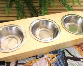 Cat Feeder  - Pet Feeder - Hand made Raised Cat/ Kitten Feeder - 3 Bowls - Cat Feeder, 3 Bowl Feeder for Pets and Pet Lovers, Custom Stained