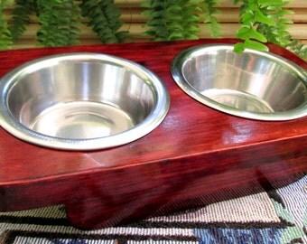 Cat Feeder - Pet Feeder - Animal lover - Handmade Cat Feeder - Raised 2 Bowl Cat Feeder -