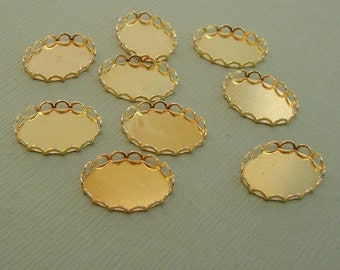 12-Cabochon Cameo Settings  Oval Bezel Lace Edge Gold Plated Brass 14x10mm