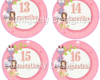 Monthly Baby Stickers - Milestone Stickers - Month Stickers -Baby Month Stickers-  Baby Stickers -- 2nd year month sticker
