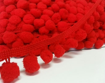 5 Yards Red Large Pom Pom Trim, Red Trim, Red pom pom trim, Trim Lot, Wholesale Trim, Dark red, Red, Large Pom Pom, red pom pom, red ball