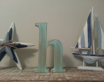 Lowercase h etsy for Standing wood letters to paint
