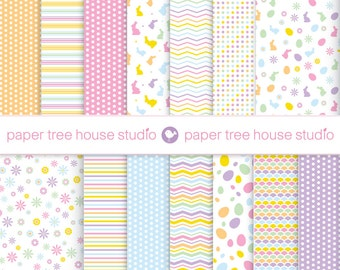 Sale Easter Digital Papers -  Bunnies Eggs Flowers Dots Stripes-  Fourteen 8.5 x 11 & 12 x 12 inch Print Ready Files - PNG Format - ID 1086