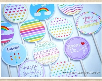 "Rainbow Cupcake Toppers, 2"" Party Circles, Unicorn Party - INSTANT DOWNLOAD"