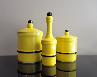 Dr Ermete Agostinelli Italy Vanity / Lidded Jar Set - Yellow and Black