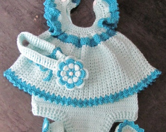 Handmade Baby Girl Crochet Dress, Head Band, Booties and Diaper cover Set