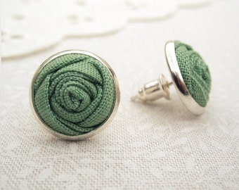 Spring Green Flower Earrings - Fabric Roses - Woodland Wedding