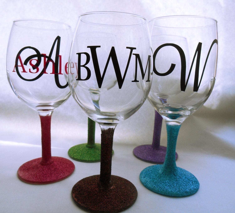 Glitter Monogram Wine Glass By Thesensoryemporium On Etsy