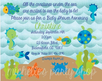NEW - Under the Sea Baby Shower Invitations, Envelopes included, set of 12