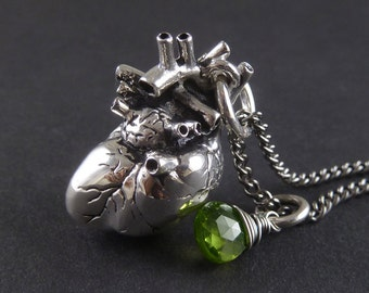 Anatomical Heart Necklace with Sterling Silver Wire Wrapped Peridot - Antique Silver Anatomical Heart Pendant - August Birthstone
